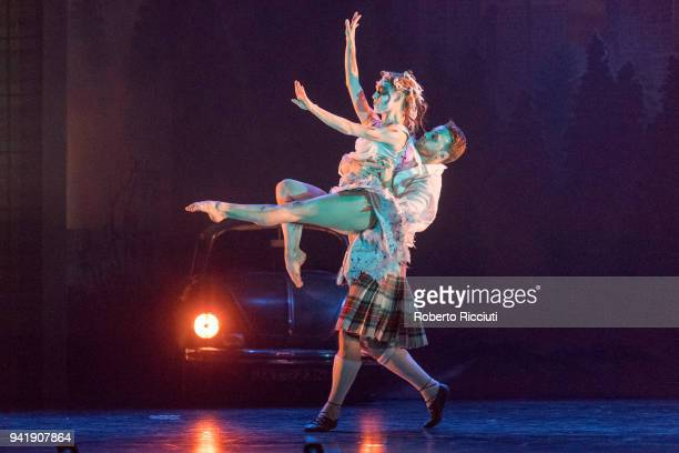 Members of the Scottish Ballet perform on stage during 'Matthew Bourne's Highland Fling Tour' photocall at Theatre Royal Glasgow on April 4, 2018 in...