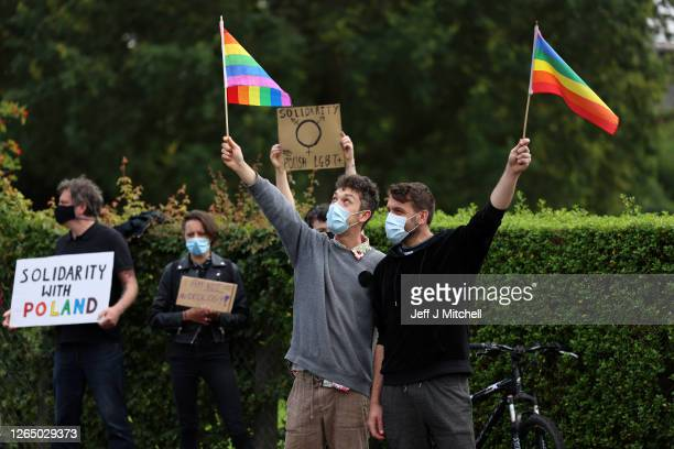 Members of the Scottish Polish community demonstrate outside the Polish Consulate to protest the arrest of a transgender activist who had carried out...