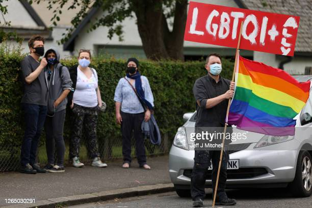 Members of the Scottish Polish community demonstrate outside the Polish Consulate to protest against the arrest of a transgender activist who had...
