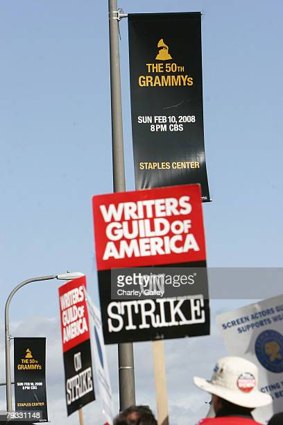 Members of the Screen Actors Guild join striking writers in a display of unity outside Fox Studios on January 28 2008 in Los Angeles California The...