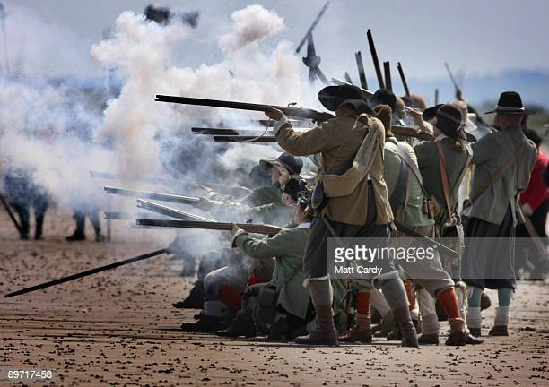 Members of the Sealed Knot reenact a battle on the beach on August 9 2009 in WestonSuperMare England The Sealed Knot who are dedicated to the costume...