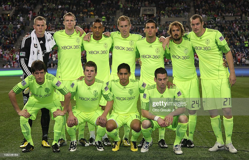 Members of the Seattle Sounders FC pose for the team photo prior to the game against Chivas de Guadalajara on October 12, 2010 at Qwest Field in Seattle, Washington. The Sounders defeated Chivas de Guadalajara 3-1.