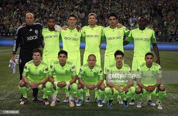 Members of the Seattle Sounders FC pose for the team photo prior to the 2011 Lamar Hunt US Open Cup Final against the Chicago Fire at CenturyLink...
