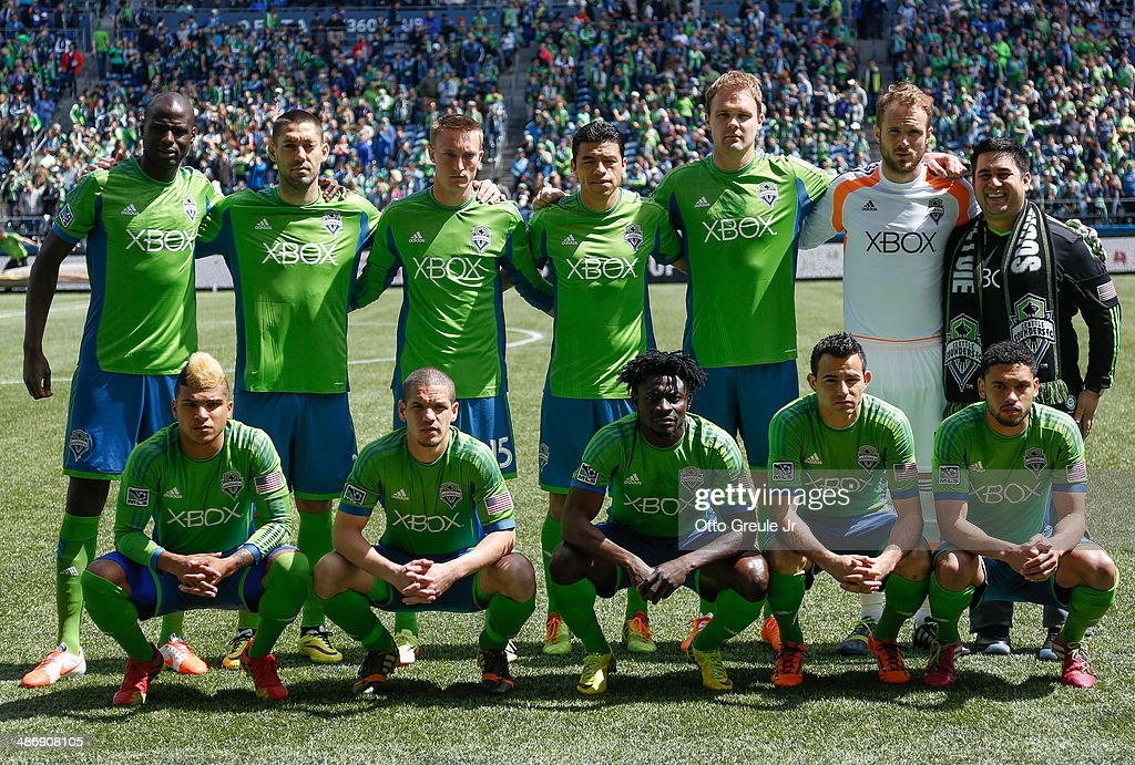 Members of the Seattle Sounders FC pose for the team photo prior to the match against the Colorado Rapids at CenturyLink Field on April 26, 2014 in Seattle, Washington.
