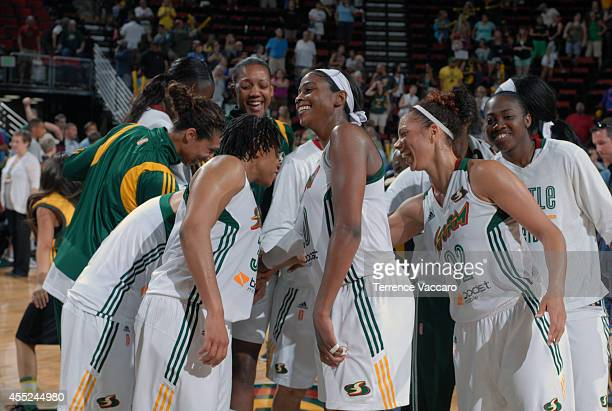 Members of the Seattle Storm huddle up against the Tulsa Shock during the game on August 102014 at Key Arena in Seattle Washington NOTE TO USER User...