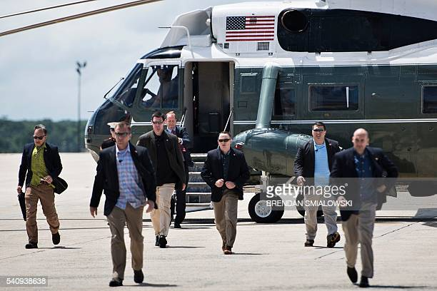 Members of the Secret Service arrive the escort US President Barack Obama at Andrews Air Force Base to travel to National Parks in New Mexico and...