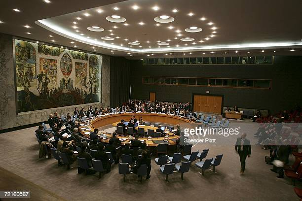 Members of the Security Council exit the chamber October 13 2006 at the United Nations headquarters in New York City The Security Council will...