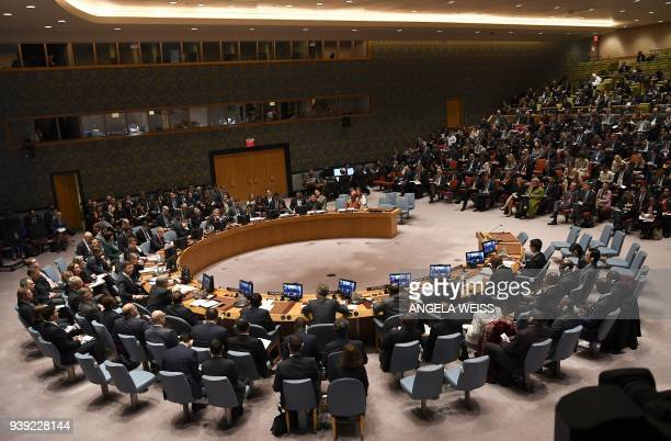 Members of the security council listen to Mark Rutte Prime Minister of the Netherlands during a United Nations Security Council meeting to improve...