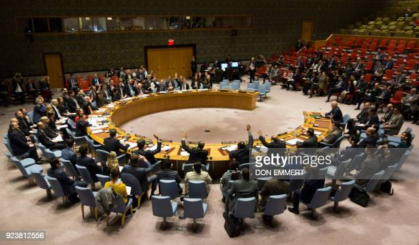TOPSHOT Members of the Security Council vote during a United Nations Security Council meeting on a ceasefire in Syria February 24 2018 in New York