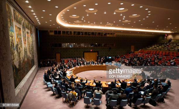 Members of the Security Council vote during a United Nations Security Council meeting on a ceasefire in Syria February 24 2018 in New York / AFP...