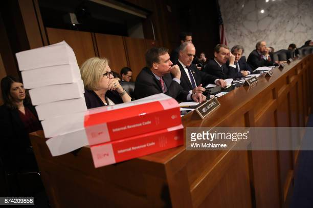 Members of the Senate Finance Committee participate in a markup of the Republican tax reform proposal November 14 2017 in Washington DC Today Senate...