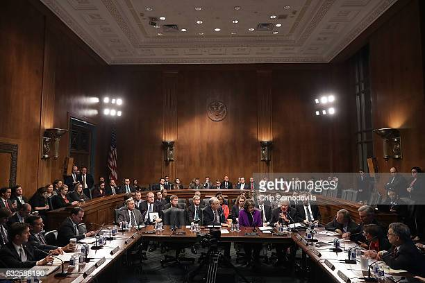 Members of the Senate Judiciary Committee hold a mark up session in the Dirksen Senate Office Building on Capitol Hill January 24 2017 in Washington...
