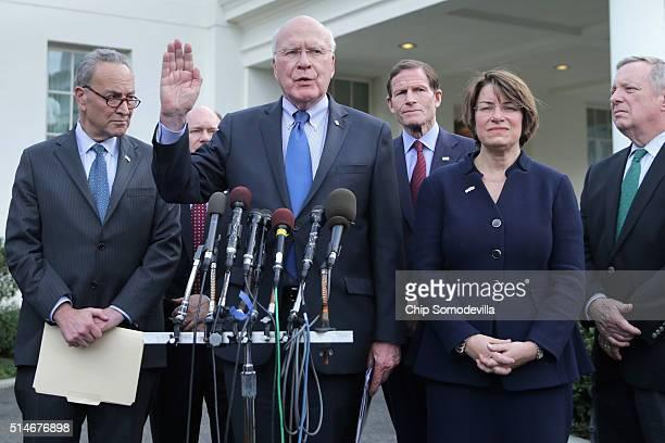 Members of the Senate Judiciary Committee Sen Charles Schumer Sen Chris Coons Chairman Patrick Leahy Sen Richard Blumenthal Sen Amy Klobuchar and...