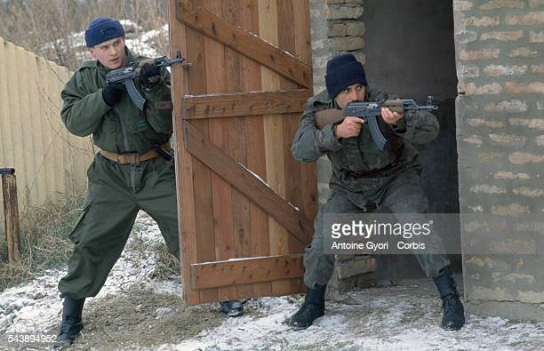 Members of the Serbian Volunteer Guard or 'Arkan's Tigers' perform training exercises in Erdut during the Yugoslavian Civil War In 1997 the founder...