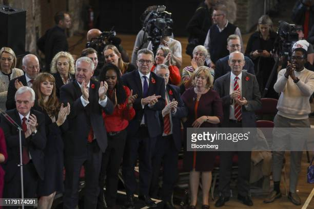 Members of the shadow cabinet applaud during the launch of the Labour Party's general election campaign in London UK on Thursday Oct 31 2019 UK...