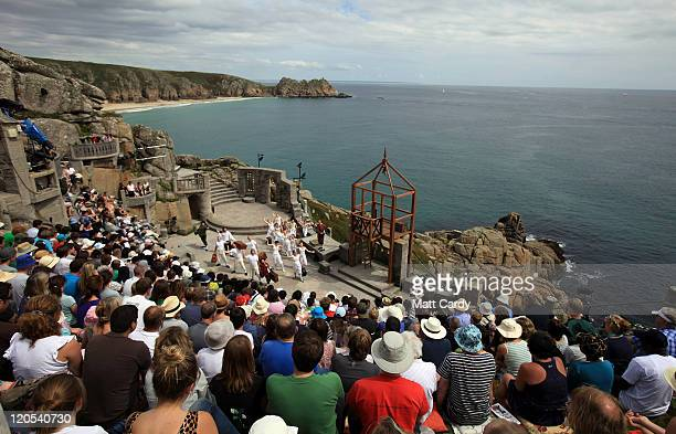 Members of the Shattered Windscreen Theatre Company perform Cyrano De Bergerac at the Minack Theatre on August 5 2011 in Porthcurno England The play...