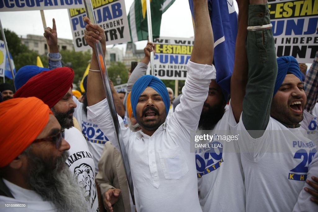 Members of the Sikh community gather to call for a referendum of the Sikh global community to establish India`s Punjab state as an independent...