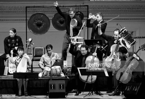 Members of the Silk Road Ensemble perform at Carnegie Hall New York New York October 16 2013 Pictured are front row from left Kayhan Kalhor Wu Man...