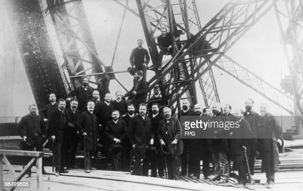 Members of the Societe Centrale des Architects on the first floor of the Eiffel Tower during its construction Paris 16th June 1888The architects are...