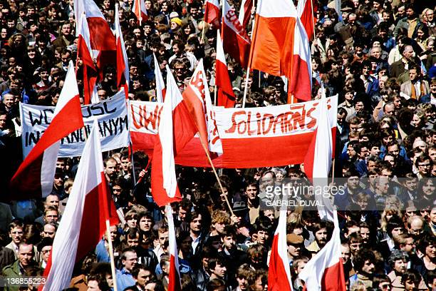 Members of the Solidarnosc Trade Union demonstrate during Labor Day parade on May 01 1982 in Warsaw