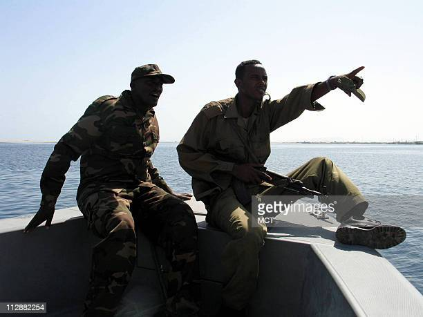 Members of the Somaliland coast guard conduct an antipiracy patrol in the Gulf of Aden in April 2009