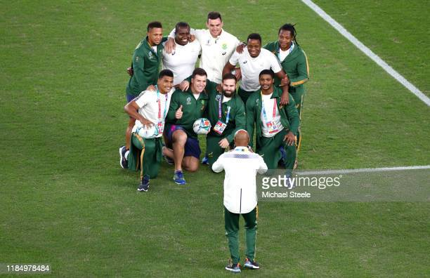 Members of the South Africa squad pose for a photo prior to the Rugby World Cup 2019 Final between England and South Africa at International Stadium...