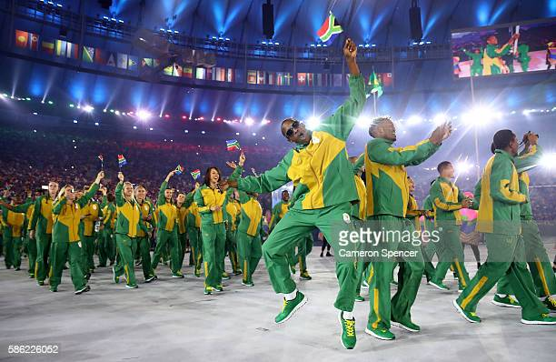 Members of the South Africa team take part in the Opening Ceremony of the Rio 2016 Olympic Games at Maracana Stadium on August 5, 2016 in Rio de...