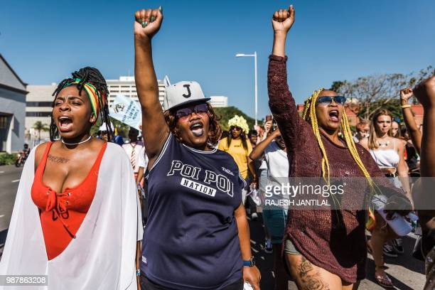 Members of the South African Lesbian Gay Bisexual and Transgender and Intersex community chant slogans as they take part in the annual Gay Pride...