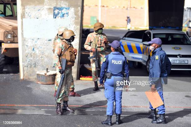 Members of the South African Police Service and intensify roadblock checks on Day Twelve of National Lockdown on April 07 2020 in Cape Town South...