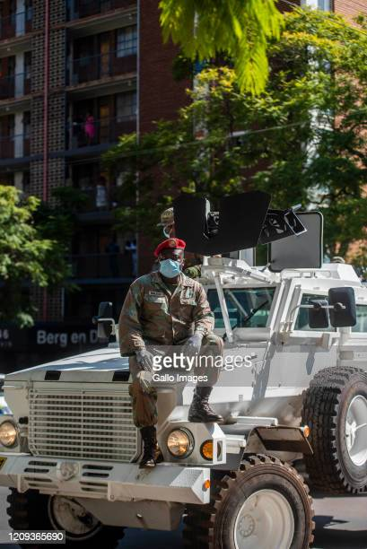 Members of the South African Police Service Tshwane Metro Police and South African National Defence Force in Sunnyside during operations to make sure...