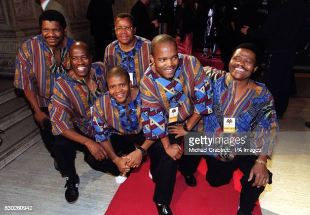Members of the South African vocal group Ladysmith Black Mambazo with lead singer Joseph Shabalala far right arriving for the MOBO Awards at London's...