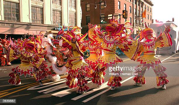 Members of the South Philadelphia String Band perform as they march up Broad Street during the 103rd New Year's Day Mummer's Parade January 1 2004 in...