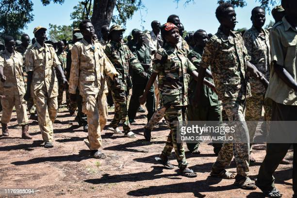 Members of the South Sudan Opposition Alliance a coalition of rebel groups welcome the arrival of Ceasefire and Transitional Security Arrangements...