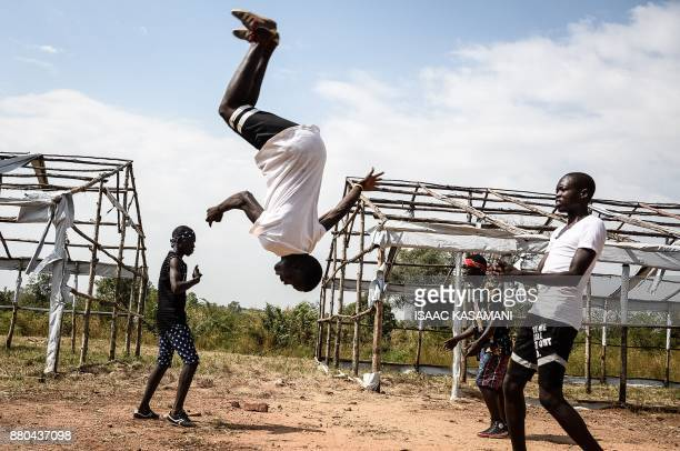 """Members of the South Sudanese refugee dance group """"The White Family"""" perform during Bidibidis Got Talent auditions at Bidibidi refugee settlement in..."""