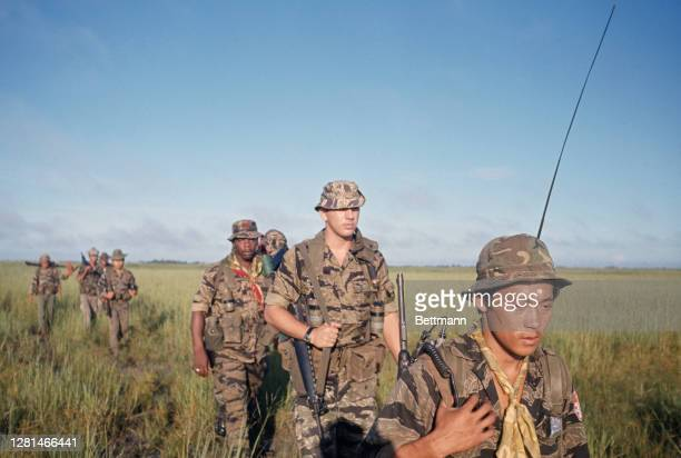 Members of the South Vietnamese Civil Irregular Defense Group , based at the Moc Hoa Special Forces camp, in the Moc Hoa District of Vietnam, 13th...