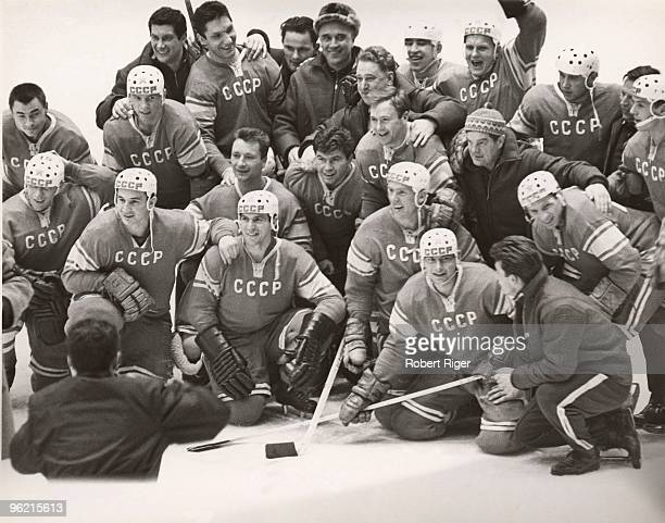 Members of the Soviet Union hockey team celebrate following the Gold Medal clinching 32 win over Team Canada during the 1964 Winter Olympics on...