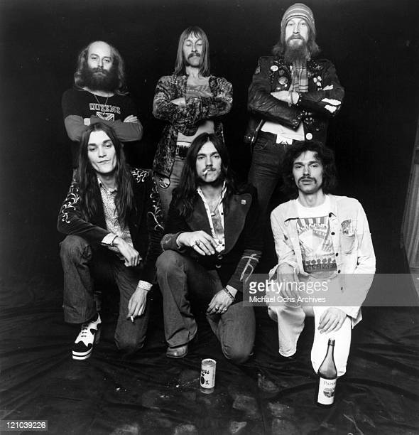 Members of the space rock group Hawkwind including Del Dettmar drummer Simon King Dave Brock Lemmy Kilmister and Simon House and Nik Turner pose for...