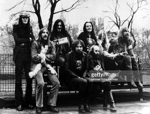 Members of the space rock group Hawkwind including Simon King, Dave Brock, Lemmy Kilmister, Del Dettmar , dancers Stacia and Miss Renee and Nik...