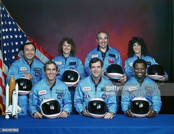 Members of the Space Shuttle Challenger crew including Astronauts Michael J Smith Francis R Scobee and Ronald E McNair and Ellison S Onizuka Sharon...