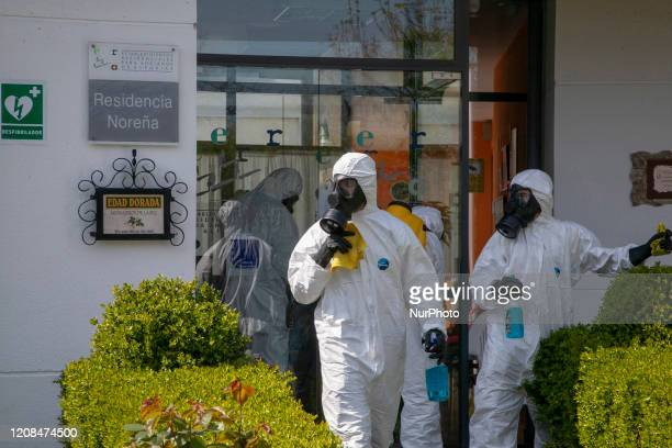 Members of the Spanish Army's UME carries out disinfection work in all health centers and nursing homes during the Coronavirus COVID19 crisis in...