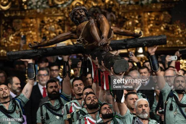 Members of the Spanish Legion carry a statue of Christ of Mena during Malaga Holy Week on April 18 2019 in Malaga Spain Spain celebrates Holy week...