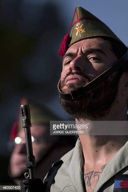 Members of the Spanish Legion take part in a farewell ceremony for the contingent making up part of the Support Iraq operation at the base military...