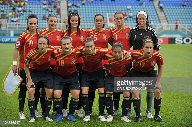 Members of the Spanish Under17 soccer team pose for photographers during the ceremony before the FIFA Women's Under17 semifinal match against South...