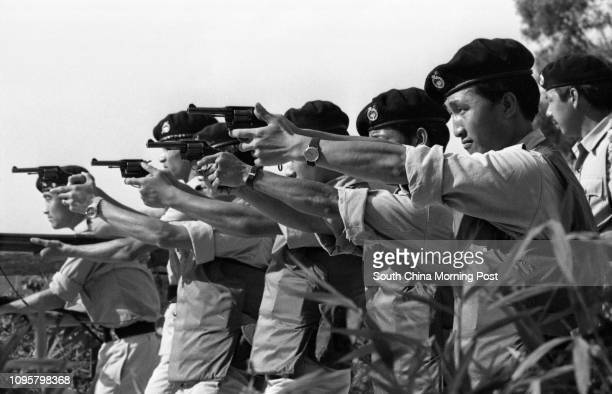 Members of the Special Duty Unit of the Royal Hong Kong Police Force taking training courses at the Fanling training school 10MAY77
