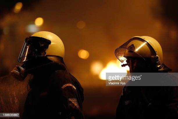 Members of the Special Police Forces are seen during the demonstration against the new austerity measures in Syntagma Square on February 12 2012 in...