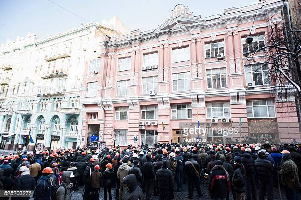 Members of the Spilna Sprava movement keep occupied a main Justice Ministry building in Kiev Different antigovernment forces gathered outside the...