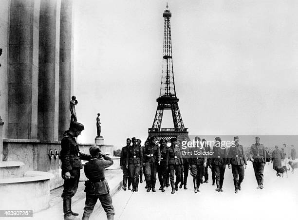 Members of the SS visiting the Eiffel Tower Paris July 1940