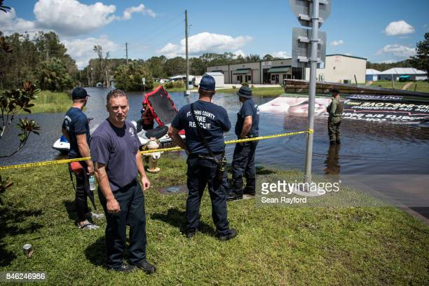 Members of the St Johns County Fire Rescue conduct operations in flood waters caused by Hurricane Irma September 12 2017 in Hastings Florida United...