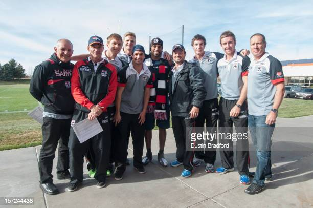 Members of the St Kilda Saints AFL team Tony Micale Dean Laidley Seb Ross Nick Riewoldt Leigh Montagna Scott Watters Lenny Hayes Sam Dunell and Greg...