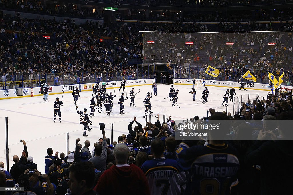 Members of the St. Louis Blues acknowledge the fans after beating the Phoenix Coyotes in a shoot out at the Scottrade Center on April 18, 2013 in St. Louis, Missouri. The Blues beat the Coyotes 2-1 in a shootout.